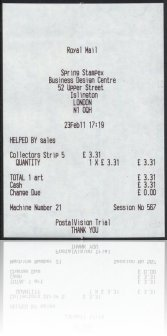 Hytech Postal vision Spring Stampex 2011 Receipt 21