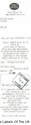 Post and Go Postmark from High Street Croydon Crown Office 