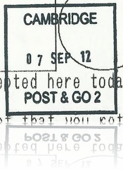Post and Go Postmark from Cambridge Crown Office