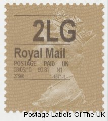 Gold Machin Horizon label issued at the Post Office branch inside the London Festival of Stamps.
