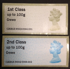 Crewe Enquiry Office  M002 Post and Go Stamps