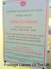 Opening Notice for new Farringdon Road branch EC1M