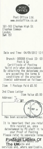 Post and Go Postmark from Clapham Common Crown Office