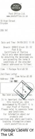 Post and Go Postmark from High Street Croydon Crown Office
